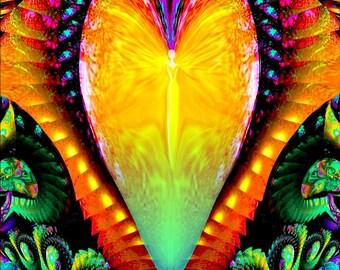 "Rainbow Heart Angel Love Decor, Spiritual Reiki Energy Attuned, Chakra Art - ""Universal Love"""