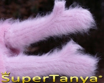 Made to order hand knit thick and fuzzy mohair mittens in pink/purple by SuperTanya