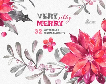 Very Merry Silky. Holiday Elements. Watercolor clipart, floral, christmas, holly, mistletoe, decorations, greeting, diy, red, grey, flowers