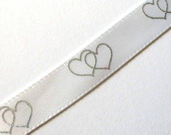1 meter ACFI297 heart 10mm hearts white satin ribbon
