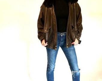 Leather Aviator Bomber Jacket