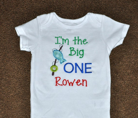 Birthday boy outfit personalized first birthday big one for Fishing shirt of the month