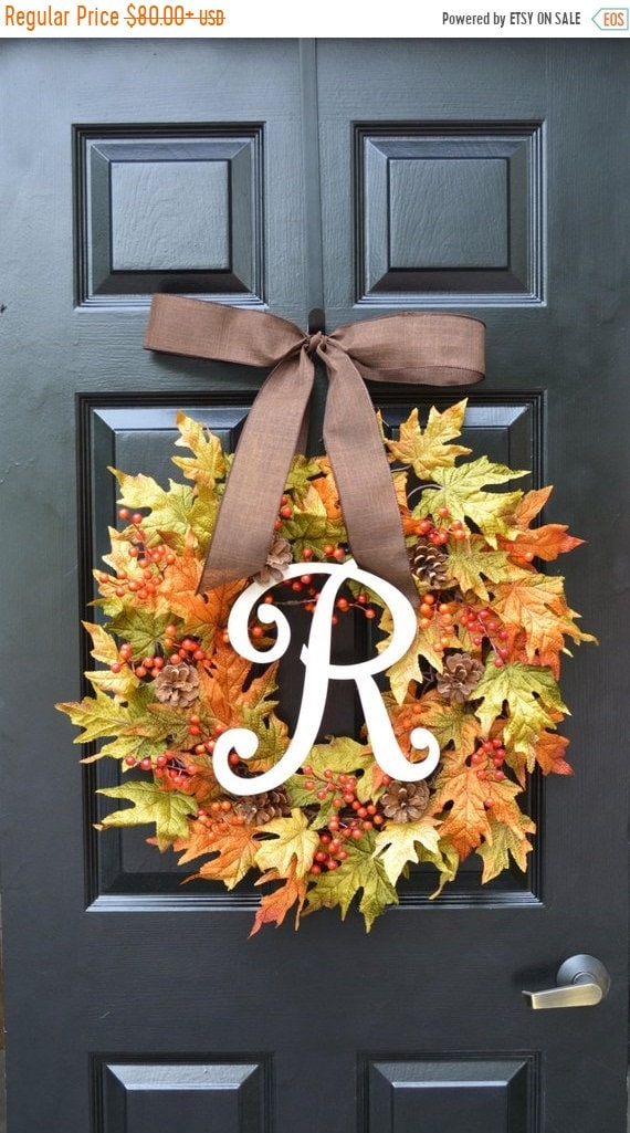 SUMMER WREATH SALE Fall Berries and Leaves Wreath, Fall Wreath, Fall Decor Monogram Wreath with Pinecones, Autumn Fall Decor, Fall Colors 22