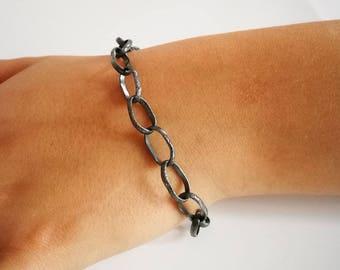 Silver Oxidized Bracelet, Oxidized Links Bracelet, Rustic Oxidized Bracelet, Big Links, Sterling Silver, Modern, Unique, Statement Bracelet