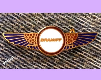 Braniff Airlines Pilot Wings Brooch Pin ~ miniature size ~ '80's Vintage Cloisonne on brass