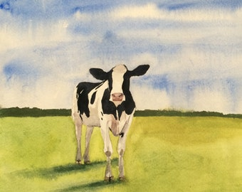 Cow painting, cow watercolor, Holstein Freisian, farm animals, cattle, Cow in field
