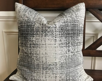 Black, Charcoal Gray and Cream Clarke & Clarke Upholstered Weight Mid Century Fabric and Cream Linen Back Pillow Cover