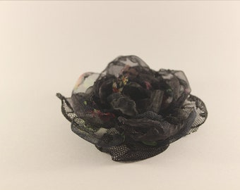 Hand made black flower broach or hair accessory with clip   and pin