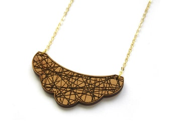 Wood geometric cloud necklace, fine chain, Gold-tone finish, graphic style, natural jewel, Lobster clasp fastening, made in France, Paris