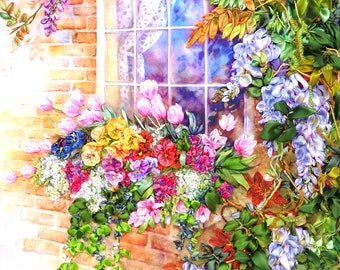 Window in the summer Ribbon embroidery picture floral landscape wistaria flowers ribbon embroidery work chick wall art  handing for framing