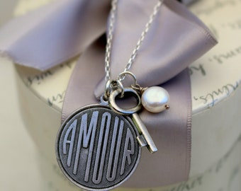 "Amour pendant necklace with Key and your choice of Pearl or crystal charm - 18"" Sterling chain"