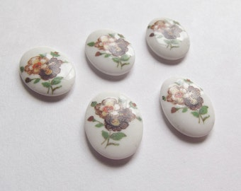 Vintage glass flower cabochons