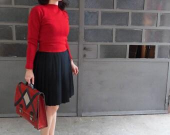 Red Sweater Wool Vintage Original