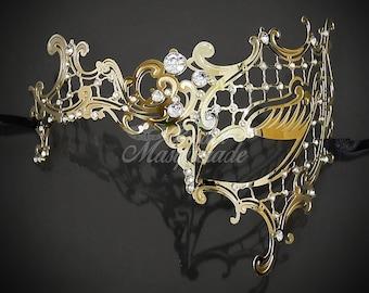 Masquerade Mask for Women, Phantom Mask,  Half-face Mask, Mask, Masquerade Mask, Masquerade Ball Mask, Mask with Rhinestones - Left Side
