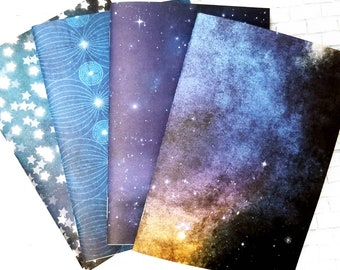 Blue Galaxy Grid Notebook - Insert - Bullet Journal - BUJO - Traveler's Notebook Journal Inserts - Blank Book - Space - Stars