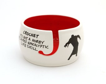 CROCHET supplies, ceramic yarn bowl, zombie apocalypse, inspired by The Walking Dead, crocheting, gift for maker