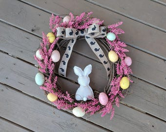 Easter Wreath, Spring Wreath, Easter Wreath for Front Door, Bunny Wreath, Easter Egg Wreath, Easter Bunny Wreath, Rabbit Wreath, Egg Wreath
