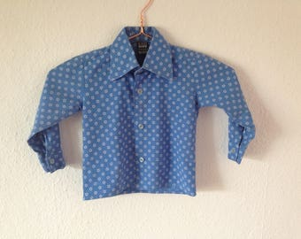 vintage shirt children kids blue cotton 70s boys print flowers
