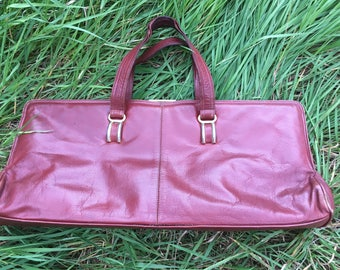 Leather red-brown bag by Licci - Made in Italy