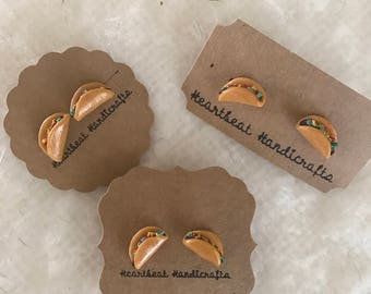 Polymer clay hand crafted taco earrings, cute, perfect gift, gift for her, unique, fun,