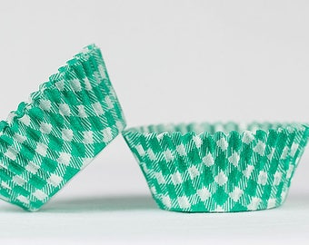 50pc Standard Size Green Gingham/Plaid Baking Cup With Greaseproof Liner