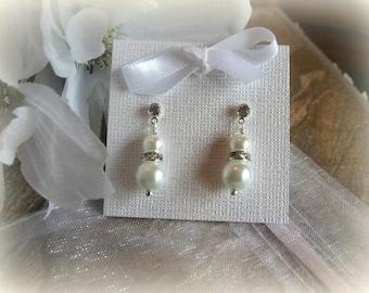 Classic Pearl and Swarovski Rhinestone Earrings with Rhinestone Studs - Bridesmaid Special
