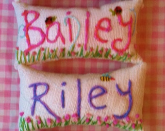 Freehand Embroidered Crewel Name MINI Pillow Made To Order Any Colors YelliKelli