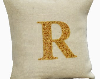 Personalized pillows, Monogram pillow cover, Personalized burlap pillows, Burlap pillow, Ivory gold pillow Initial pillow Jute cushion cover