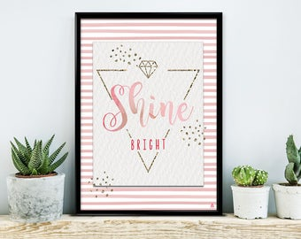 Shine bright, poster, print, print, typography art, saying posters, calligraphy, diamond