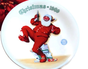 "Christmas Collectible ""Jolly Old St.Nick"" Norman Rockwell Plate  Pepsi Santa 1989"