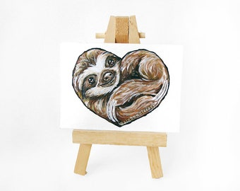 Sloth Painting ACEO Original, Wild Animal, Heart Art, Sloth Lover, I Love You, Gift Idea, Valentines Day, Wildlife Decor