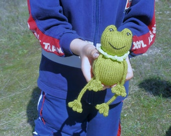 Knit baby toy baby stuff knitted frog amigurumi frog stuffed animal knit plush animal froggy baby amigurumi ready
