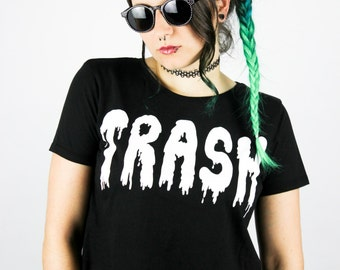 """Fairtrade Crop Shirt Dripping """"TRASH"""" S / M / L Shittyfucky Unique Design Grunge Alternative Pastel Goth Cyber Punk Dark Gothic Wave Kawaii"""