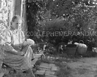 WOMAN  WITH CATS 1964 vintage digital printable photo for collage, decoupage, altered art, scrap booking, card making and mixed media art