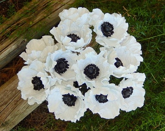 Anemone Wedding Bouquet - White Paper Anemone Blooms - Dozen Anemones - Anemone Flowers -  -  Custom Colors Available