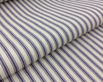 "Blue & White Striped Ticking Fabric/Farmhouse Fabric/60""Wide"