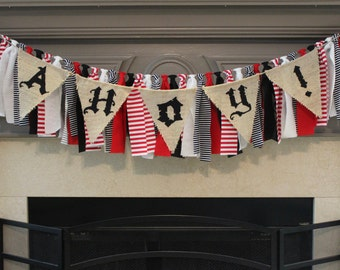 Pirate Rag Banner Pirate Birthday Party Ahoy Rag Banner