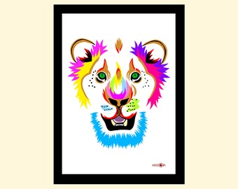 Lion Art Print, Wall Art, Art Print, Home Living, A4 Prints, Wall Decor, Modern and Contemporary, Animal Art, Colourful Print