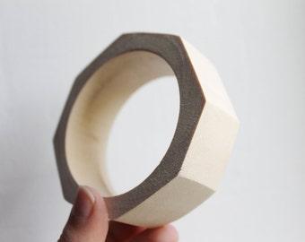 30 mm Wooden bracelet unfinished round octahedral - natural eco friendly OKT30