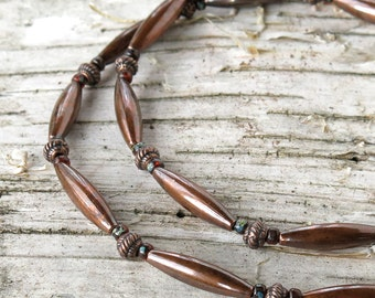 Beaded copper necklace - aged Picasso glass beads & oxidized copper