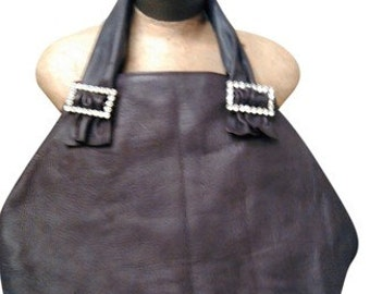 Distressed Chocolate Brown Leather Tote with Rhinestone Buckles