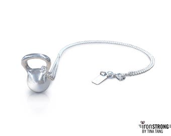 Sterling Silver Kettlebell Necklace