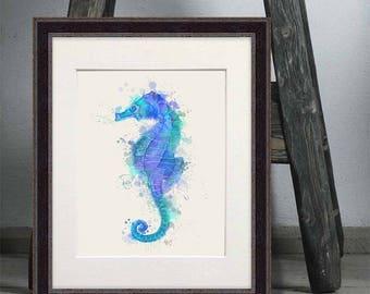 Seahorse beach decor - Seahorse blue print - Seahorse prints Seahorse decor Seahorse wall art Nautical print Ocean wall art Coastal print