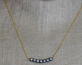 """Gray Freshwater Pearls on 14K Gold Chain, 15"""""""