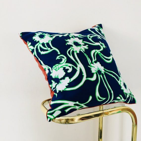 "Blue Floral Pillow Cover 18""x 18"" Square Cushion Pillow Vintage Mid Century Green White Boho Flower Pillow Burnt Orange Velvet Pillow"
