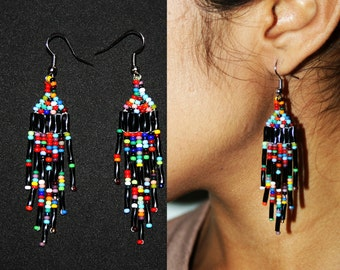 Beaded Huichol Earrings - Multi Color Earrings - Native American Jewelry - Native Beaded Earrings - Beaded Dangling Earrings Huichol Jewelry