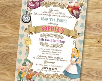 Alice in Wonderland Birthday Party Invitation // Digital File Only