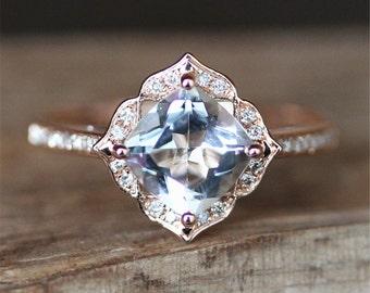 Vintage Aquamarine Engagement Ring VS 7mm Cushion Cut Aquamarine Ring Floral Halo Diamonds Ring Gemstone Ring Stackable 14K White Gold Ring