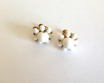 Vintage White Beaded Cluster Twist Back Earrings