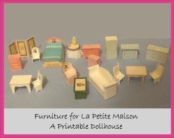 Dollhouse, Printable Craft Kit  Miniature Furniture For La Petite Maison Or  Any Quarter Scale